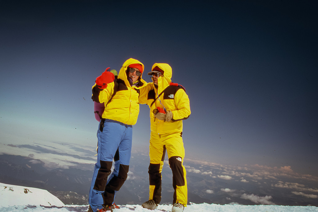 Mount Rainier Summit 7-26-1986 Woody Carr (left) Mike Woolley (right)